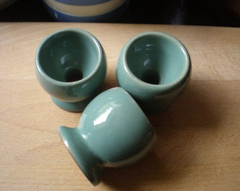 """Vintage Denby """"Manor Green"""" Egg Cups Set of 3 Mid Century English Stoneware"""