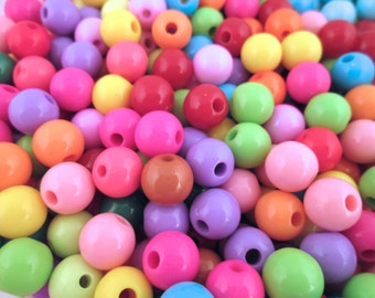 50 10mm Multicolor Bubble Gum Beads, Chunky Gumball Beads, #831