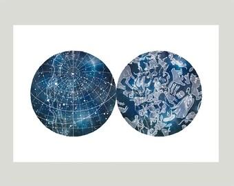 Star Charts, Constellation Map, Poster, print, art, wall decor, 12 x 18 inch
