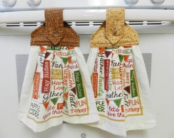 Fall hanging towels, Thanksgiving towels, Kitchen accessories, Harvest hanging towels, hand towels, Kitchen towels, hanging towels