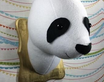 Panda Head, Panda Wall Mount, Panda Stuffed Animal Head, Panda Bear, Faux Taxidermy, Panda Soft Sculpture, Panda Nursery, Nursery Decor