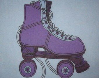 "Girls Roller SKATE, Peace, Flower RETRO 60s 70s - Your Choice of  6.5"" Fabric Quilt Block"