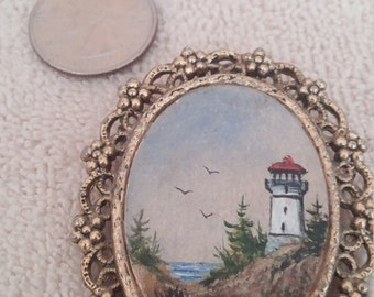 Hand Painted Lighthouse Brooch