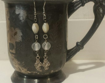 Rosary Bead Assemblage Earrings