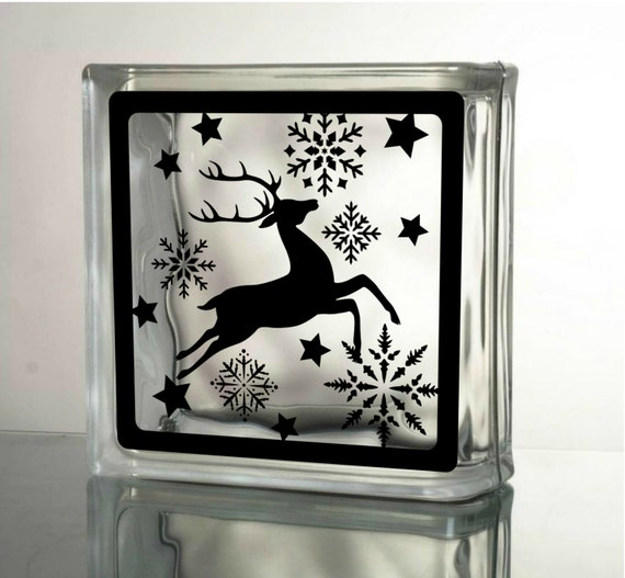 Reindeer decal christmas decals for glass blocks by for Quality craft vinyl plank reviews
