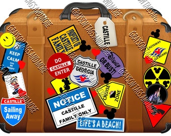 Colorful Cruise Suitcase Magnet (Disney and Non Disney Version Available)