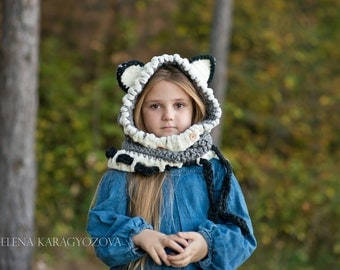 Crochet Wolf Hood Cowl, Knit Hooded Wolf Cowl,Kids Wolf Cowl Hood, Toddler Halloween