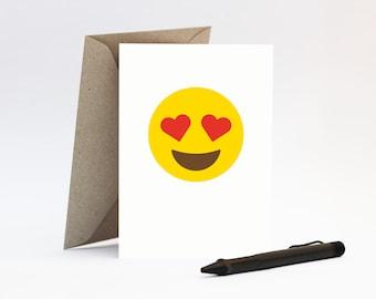 Heart eyes emoji card – Funny Valentine's Day, Anniversary or I Love You. For boyfriend, girlfriend or best friend.