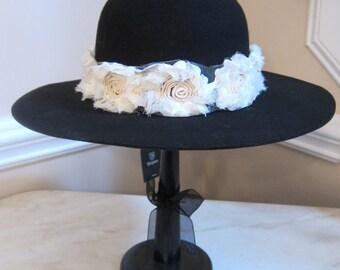 Ladies Flower Power Brixton Hat - Black - Sz 7 Small