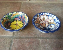 Mexican Talavera Pottery Small Serving Bowls Set of Two, Made in Mexico, La Marceta, Hand Painted, Very Pretty