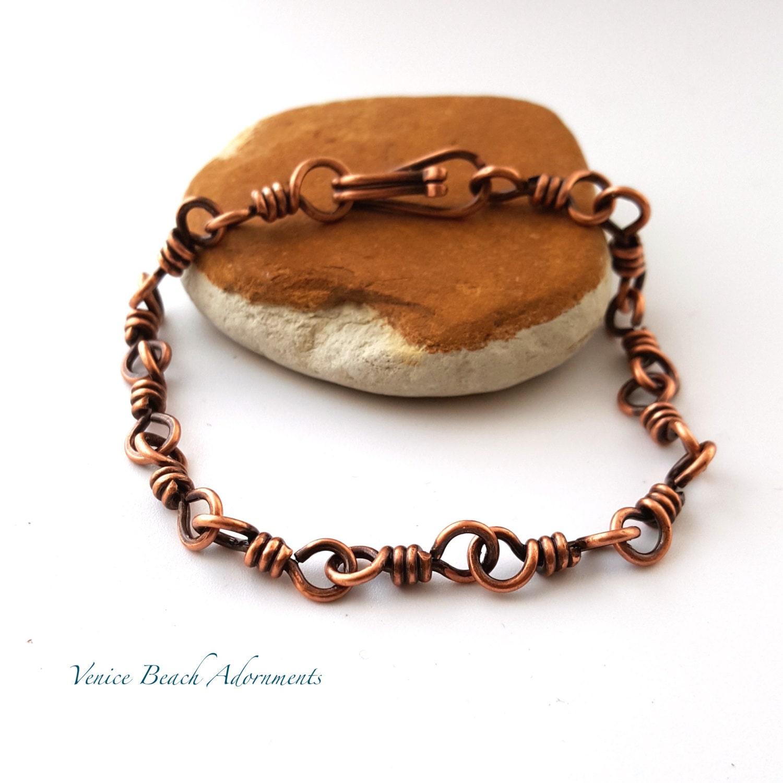 men 39 s handmade copper chain bracelet. Black Bedroom Furniture Sets. Home Design Ideas