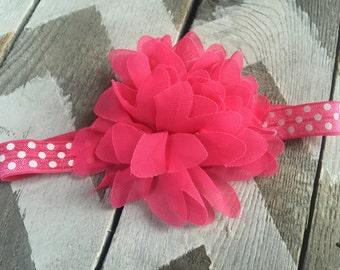 Pink Baby Headband -  Newborn Headband - Hot Pink Polka Dot Headband