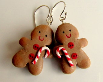 Christmas Earrings - Gingerbread Men - Sterling Silver Earrings - Handmade Jewellery - Cute Christmas Earrings - Christmas Jewelry Jewellery