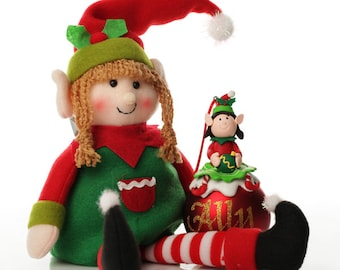 Girl Elf Shelf Sitter and Bauble Pack