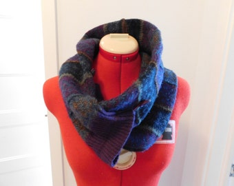 Sale, Boyfriend hug, knitted scarf, unique scarf, geek scarf, recycled scarf, upcycled sweater, recycled sweater, winter scarf, neckwarmer
