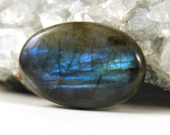 Sale - Beautiful Blue to Green Labradorite Oval Cabochon