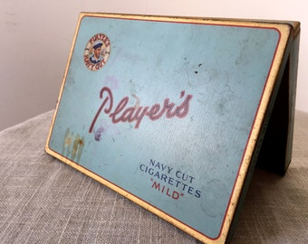 Vintage Player's Cigarette Tin, Antique Advertising, Imperial Tobacco Smoking Collectibles 1950s