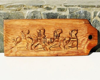 "Vintage wooden panel, hand-carved, Carving, ""Prayer"", Bulgarian Folklore, 70s, Unique, Only One, Gift idea"