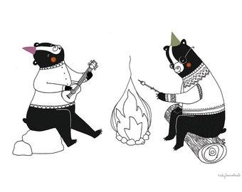 CAMPING BEARS - illustration print by Vicky Lommatzsch A3