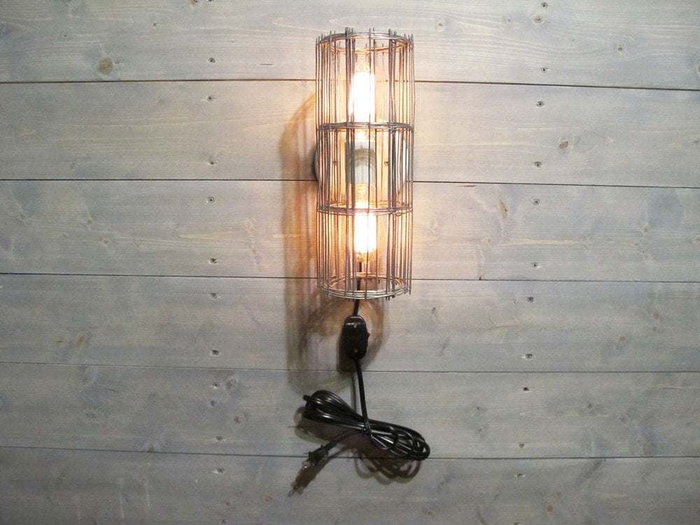 Rustic Wall Sconces Plug In : Rustic Wall Sconce w/ Plug & Cord and Grey Galvanized Steel Cage - Wall Mount Lamp with Switch ...
