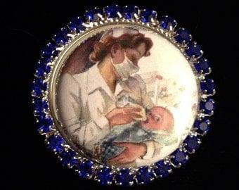 RN vintage nursery nurse badge reel retractable badge reel, unique id holder, nurse jewelry, designer badge holder, nurse gift, lanyard