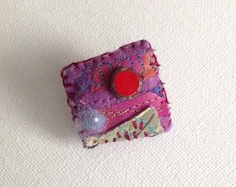 Textile Pillow Brooch Red Beaded Hand-stitched Handpainted Silk