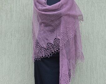 Purple shawl - Hand Knitted Shawl - linen shawl - lacy shawl