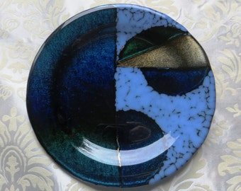 Fused Glass Serving Plate in Iridescent Teal Blue and Opalescent accents