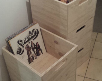 Vinyl Record storage crate storage cube by PlyDesign