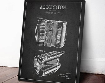 1938 Accordion Patent, Accordion Print, Accordion Canvas Print, Accordion Poster, Wall Art, Home Decor, Gift Idea, MUIN18C