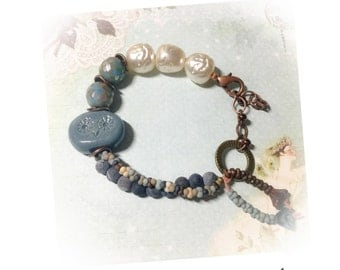 Blue Hoot --Hand crafted bracelet featuring handcrafted ceramic owl art bead, Blue tones