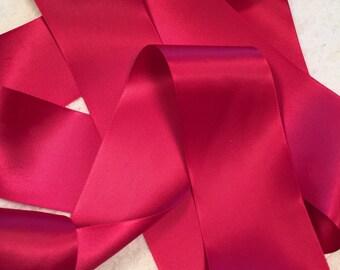 Pink Satin Ribbon/Beauty Satin Ribbon/Hot Pink Bridal Sash/Hot Pink Ribbon/Pink Ribbon/Bright Pink Ribbon