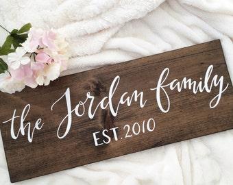 Family name wood sign | wedding/bridal shower gift | 9x24