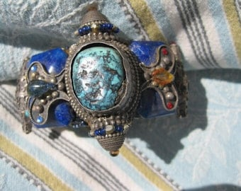 Rare Vintage Wendy Gell Tibetan Turquoise Bracelet reduced from 550 to 275