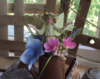 Fairy~ White Bryony Fairy (Retired Fairy)  with Rusted Watering Can by Olive ~ Fairy Garden, Fairy, Fae, Faery