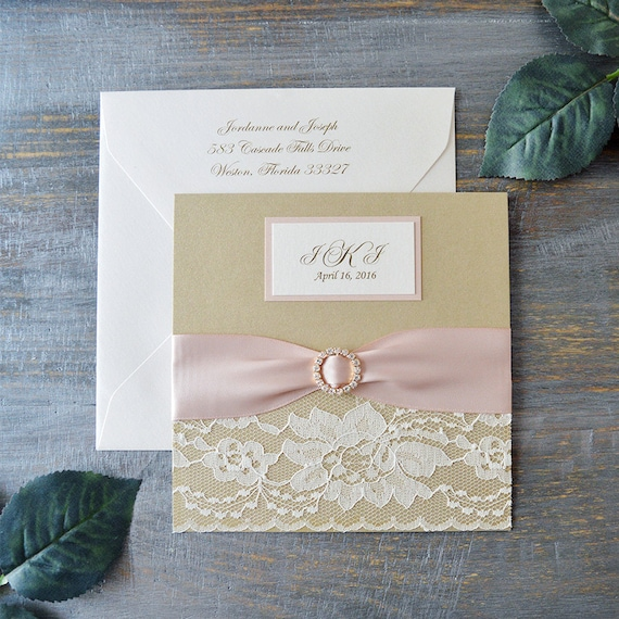 JORDANNE - Lace Pocket Wedding Invitation- Blush and Champagne Gold - Square Invitation with Blush Pink Ribbon and Gold Rhinestone Buckle