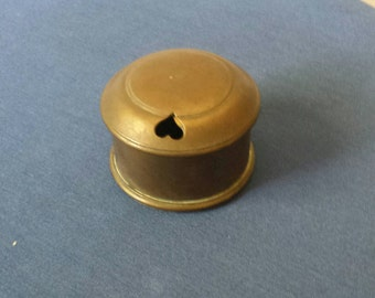 Vintage Brass Inkwell With Heart