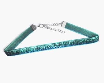 Green/Blue Glitter Mermaid Choker