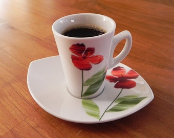 2 Expresso Cups with Saucers with Flower Motief, Coffee Cups from Germany, White, Red and Green