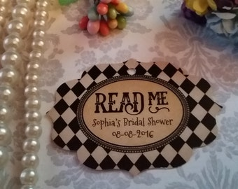 Read Me -Alice in Wonderland Gift Favor-Thank You Tags- White Rabbit-Tag Party Favor-Wonderland Theme Party Set of 25 to 300 pieces
