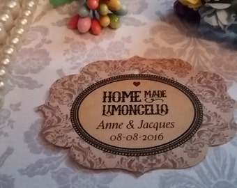 Home Made Limoncelo tags. Favor Tags, Sweet tags, Set of 25 to 300 pieces