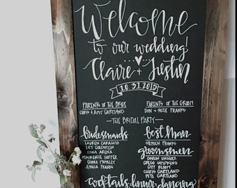 Wedding program chalkboard sign