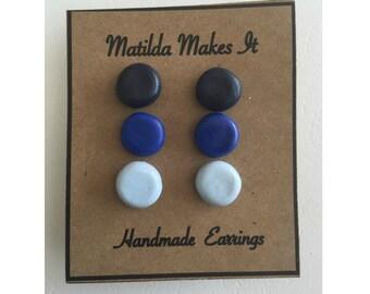 Set of 3 Blue Ombré studs - Handmade Polymer Clay Earring Set
