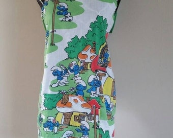 Vintage Smurf One Of A KIND pocketed Apron Mens Womens one size Ready To Ship