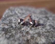 Raw Black Diamond conflict free Stud Earrings Sterling Silver E11 (RESERVERD)