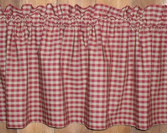 Berry Red & Tan Check Homespun Valances Tiers Valances Runners Country Gingham Curtains Primitive Cabin Kitchen Valances USA French Country