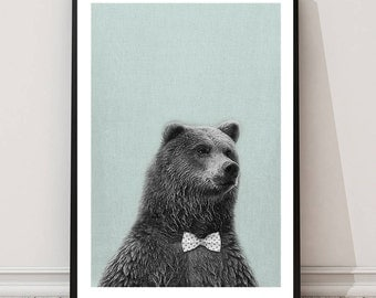 Bear Print, Childrens wall art, bear art, Animal print, nursery bear print, playroom printable, wall art decor, digital print, room decor
