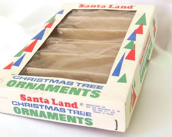 Vintage Empty Santa Land Torpedo Christmas Ornament Box