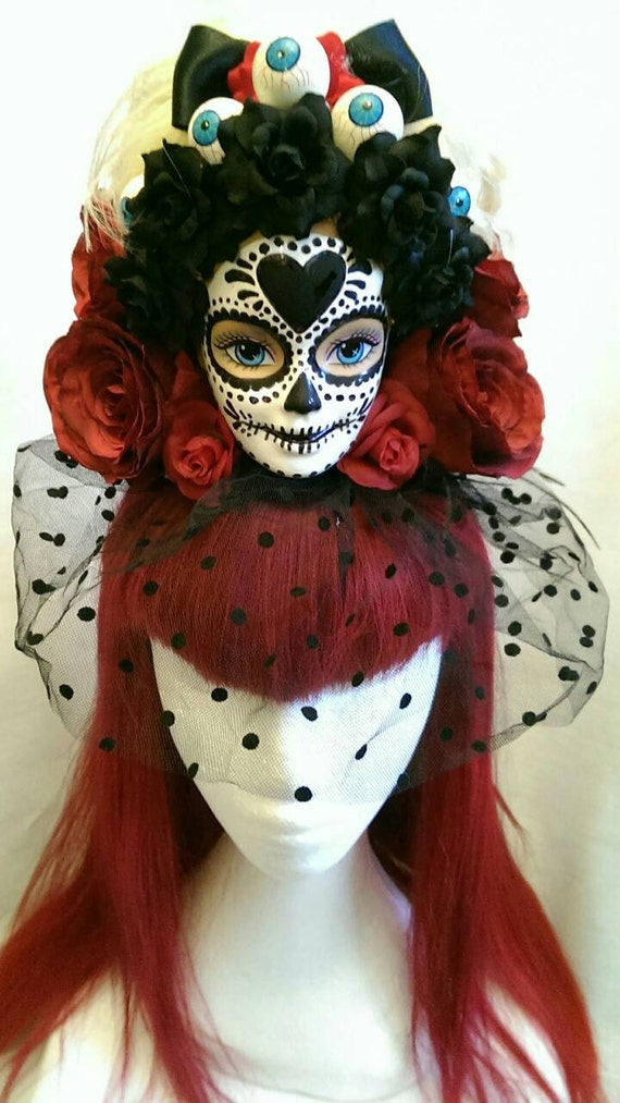 Xl Sugar Skull Giant Barbie Head Dark Red Roses Day Of The
