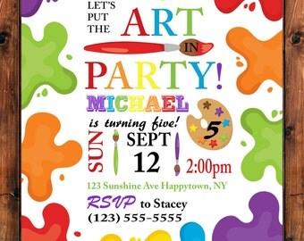 Art Party Invitation, Art Birthday Invite, Painting Party Invitation, Craft Party Invite, Kids Birthday Party, Paint Invite, Rainbow Invite
